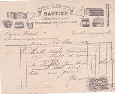 """Fattura Comm. Con Marca Da Bollo  ,  Anno 1890  -  Articles De Voyage En Tous Genres  """"  Gautier """" , Bordeaux - Francia"""