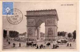 Carte Maximum Avec N°627 Arc De Triomphe Oblitérée Paris Philatélie 1948  Cote Yvert :  A2  60E - Maximum Cards