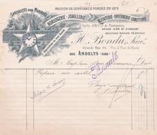 "Fattura Comm. -  A L'Etoile D'Or , Horlogerie - Joaillerie  "" H. Bondu, Succ."" , Andelys - Francia"