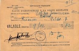 Carte D'abonnement à La Poste Restante De POLIGNY (Jura). Valable Jusqu'au 9-12-1942. 4 Timbres Post. + 1 Timbre Fisc. - Postal Services