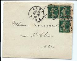 LETTRE 1918 - Bloc De 3 Timbres De Carnet SEMEUSE 5c GC - ALBI Tarn - Definitives