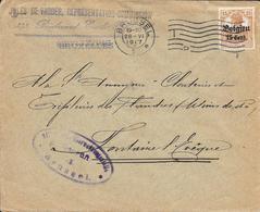Lettre Belgique Bruxelles 1917 Censure US Censor Geoffnet Examiner Censura War - Marcophilie (Lettres)