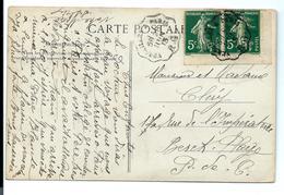 Timbres De Carnet SEMEUSE 5c - COIN De CARNET - Sur Carte 1913 - Convoyeur Versailles RG - Definitives