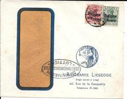 Lettre Belgique Liège 1916 Censure US Censor Geoffnet Examiner Censura War - Marcophilie (Lettres)