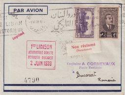 """LIBAN : PA . 1ère LIAISON . """" BEYROUTH - BUCAREST """" . 1939 . - Liban"""