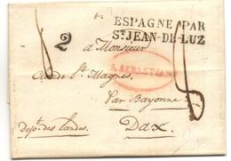 Marque ESPAGNE PAR SAINT JEAN DE LUZ Sur Marque Espagne SAN SEBASTIAN Pour DAX 1835 - Poststempel (Briefe)