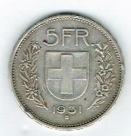 Suisse 5Fr Argent 1931 B Belle - Schweiz