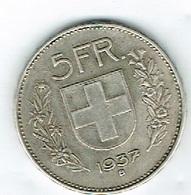 Suisse 5Fr Argent 1937 B Belle - Schweiz
