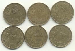 20 FRANCS  Guiraud 1951 +1951B + 1952 +1952 B +1953 +1953 B - L. 20 Francs