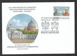 VATICAN 2019  FDC CELEBRATING CENTENARY DIPLOMATIC RELATIONS WITH POLAND - Vatican