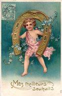 CPA  -  Embossée Ou Gaufrée  - Fer à Cheval Et Enfant  -   écrite - - Fancy Cards
