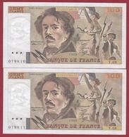 """100 Francs""""Delacroix"""" 1983 ----AU/SPL----ALPH .Y.69 ---SUITE DE 2 BILLETS-- N °79810-79811--AUCUN TROU D EPINGLE - 1962-1997 ''Francs''"""