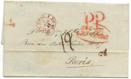 CACHET ESPAGNE PAR SAINT JEAN DE LUZ Sur Marque Espagne BILBAO + PORT PAYE  Pour PARIS 1842 - Poststempel (Briefe)