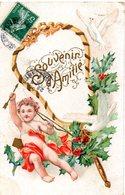 CPA  -  Embossée Ou Gaufrée  - Souvenir D'amitiés  Avec Enfant Cupidon ?  - Bonne Annnée   -   écrite - - Fancy Cards