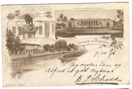 Dutch Indies NED. INDIE GROET Uit BATAVIA Gruis Aus Sent 1896 To Norway Redirected Wity Several Handstamps - Indonesien