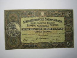 BILLET 5 Francs SUISSE 1939 - Suisse