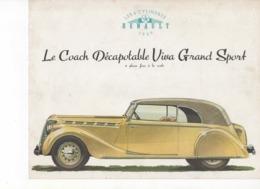 611  PUBLICITÉ  ANCIENNE BROCHURE RENAULT VIVA GRAND SPORT  1939   Voiture 6 Places Face à La Route - Voitures