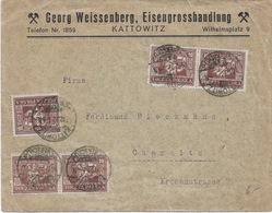 Lettre De KATTOWITZ  ( Georg Weissenberg ) Pour  CHEMNITZ  1922  13 Stamps - 1919-1939 République