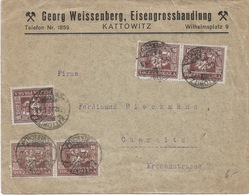 Lettre De KATTOWITZ  ( Georg Weissenberg ) Pour  CHEMNITZ  1922  13 Stamps - 1919-1939 Republik