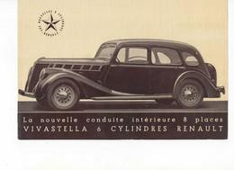 612  PUBLICITÉ  ANCIENNE BROCHURE RENAULT VIVASTELLA  1939   Voiture 8 Places Face à La Route   6 Cylindres - Voitures