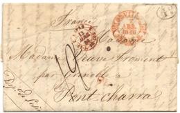CACHET ESPAGNE PAR SAINT JEAN DE LUZ Sur CACHET Espagne SEVILLE  Pour PONT CHARRA (Isère) 1846, Avec Décime Rural - Poststempel (Briefe)