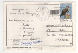 """Beau Timbre , Stamp Yvert N° 3185 """" Aigle Pêcheur """" Sur Cp , Carte , Postcard Du 25/02/2000 - 1991-00 Lettres"""