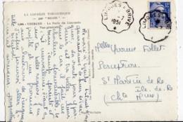 Convoyeur LIMOGES A BRIVE N° 106 III Retour, Marianne Gandon 12f Bleu N° 812, 1951, CPSM UZERCHE - Marcofilia (sobres)