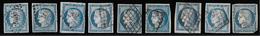 9 TIMBRES ; N°4 ; CÉRÈS 1850 ; N° ;44;45;63;7;1;10;19;4;120 ; N° DE LA PLANCHE G1  TTB - 1849-1850 Ceres
