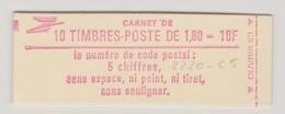 """FRANCE 1982 CARNET N° YT 2220-C5 Type SABINE 1,80 F Rouge """"Code Postal Mot De Passe"""" - Usage Courant"""