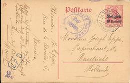 Lettre Belgique Verviers 1916 Censure  Censor Geoffnet Examiner Censura War - Marcophilie (Lettres)