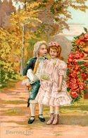 CPA  -  Embossée Ou Gaufrée   -  Heureuse Fete , Jeune Couple-   écrite - - Fancy Cards
