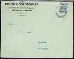 """Palestine """"Cohen & Golosovker à Jérusalem"""" Timbre N° 57 Surchargé, Seul Sur Enveloppe Pour Chemnitz (All) B/TB - - Palestina"""