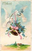 CPA  -  Embossée Ou Gaufrée   -  1er Avril Avec Colombes -   écrite - - Fancy Cards