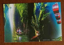 Jindao Cliff Waterfall Rainbow,cable Car,China 2014 Chongqing Tourism Annual Ticket Advertising Pre-stamped Card - Geología