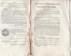 Bulletin Des Lois 1170 De 1845 Fondation à Draveil Seine Et Oise établissement Soeurs St Thomas De Villeneuve - Décrets & Lois