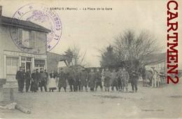 SOMPUIS CACHET 4e GROUPE A.O.I.F. PLACE DE LA GARE ANIMEE SOLDAT POILUS MILITAIRES 51 MARNE - France