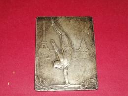 RARE MÉDAILLE BRONZE ARGENTE RECTANGULAIRE  PARIS 1931 TOUR EIFFEL ET SACRE- CŒUR Graveur A.DUSEAUX 73 Gr. 60 X 45 Mm - Francia
