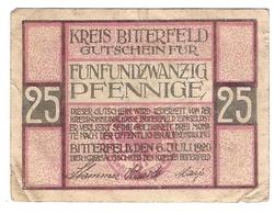 Deutschland Notgeld 25 Pfennig Tieste0710.25.01 BITTERFELD /77M/ - [11] Emissions Locales