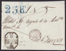 1846. NÁJERA A BURGOS. FECHADOR ROJO OXIDADO Y PORTEO 23 REALES AZUL. TIMBRE JUZGADO Y CERT. DE OFICIO. ESPECTACULAR. - ...-1850 Prefilatelia