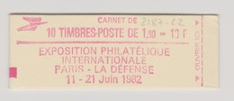 "FRANCE 1982 CARNET N° YT 2187-C2 Type Liberté 1,60 F Rouge ""PhilexFrance 1982"" - Usage Courant"
