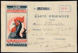Année 1916 - Coq - Carte D'dentité Ligue Antiallemande - - Documenti