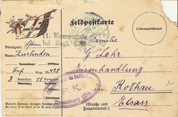 Allemagne 1917- Feldpostkarte - Entier En Franchise Militaire -  3ème Infanterie, Régiment 428 à Rothau Elsass - Geprüft - Allemagne