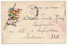 FRANCE - Carte Lettre Illustrée 8 Drapeaux (oriflammes) Ayant Voyagé - Military Service Stampless