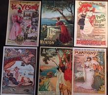 6 CPM, Repro D'Affiches, Chemins De Fer De L'Etat (Paris-Royan) De L Ouest (VESINET),PLM (Antibes, Menton), D'Orléans... - Spoorwegen