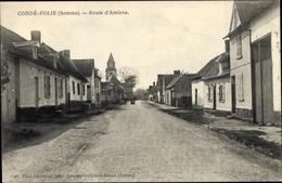 Cp Condé Folie Somme, Route D'Amiens, Straßenpartie Im Ort, Kirchturm - Frankrijk