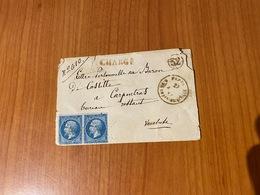Lettre Du 27 Aout 1864 De PARIS - Chargé- -cachet Bureau 52-  Pour  CARPENTRAS - Aff PAIRE N°14 - - 1849-1876: Classic Period