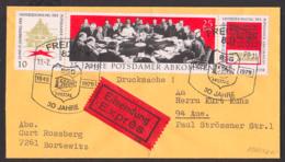 Potsdamer Abkommen 1945 Eil-Orts-Drucksache Portogenau Mit DDR Zdr. W Zd 237, Stalin Ceclienhof - Se-Tenant