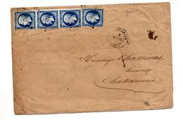 Lettre Cachet Losange + ?? Sur Napoleon 1 Bande De 3 + Nantes à Paris + Chateauroux - Poststempel (Briefe)