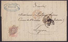 1872. MADRID A LYON. 40 CÉNTIMOS CASTAÑO MAT. REJILLA ABIERTA. FECHADOR Y TRÁNSITOS. BONITA. - 1872-73 Königreich: Amédée I.