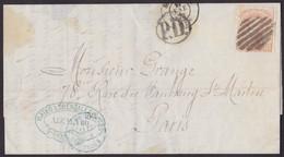 1873. MADRID A PARÍS. 40 CÉNTIMOS CASTAÑO MAT. REJILLA ABIERTA. FECHADOR Y TRÁNSITOS. PUBLICIDAD IMPRESA. MUY BONITA. - 1872-73 Königreich: Amédée I.